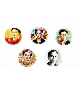 Cabuchón cristal Frida Kahlo 14mm, fondo plano