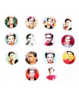 Cabuchón cristal Frida Kahlo 12mm, fondo plano