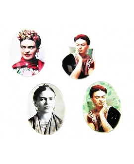Cabuchón cristal Frida Kahlo oval 40X30mm, fondo plano