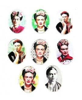 Cabuchón cristal Frida Kahlo oval 25x18mm, fondo plano