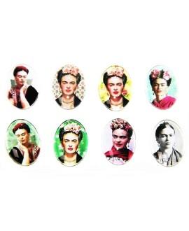 Cabuchón cristal Frida Kahlo oval 18x13mm, fondo plano