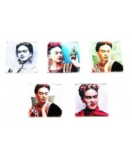 Cabuchón cristal Frida Kahlo cuadrado 25x25mm, fondo plano