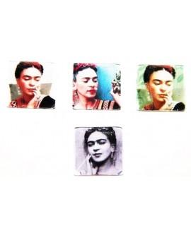 Cabuchón cristal Frida Kahlo cuadrado 20x20mm, fondo plano