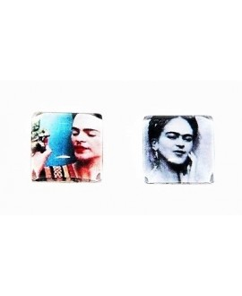 Cabuchón cristal Frida Kahlo cuadrado 15x15mm, fondo plano