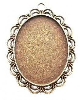 Base cabujón oval plano bronce 54x40x3mm, para cabujón de 40x30mm,  paso 4mm