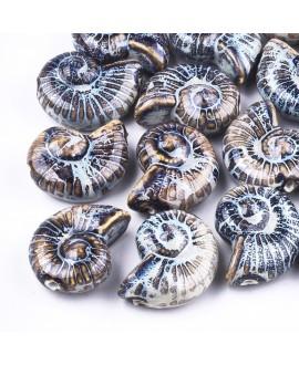 Cuenta/entre-pieza de porcelana esmaltada de forma antigua, caracol 40x31mm paso 3mm, precio por unidad