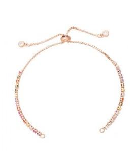 Pulsera semiacabado cadena de cobre con baño de oro y cristales, cierre deslizante, ajustable