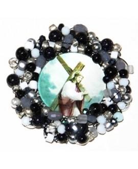 Medalla religiosa bordada a mano 55mm