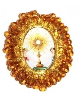 Medalla religiosa bordada a mano 45x35mm