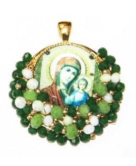 Medalla religiosa bordada a mano 40x45mm