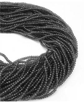 Rondel Cristal facetado chapado en black  4x3mm paso 1mm, tira de 47,5cm (149 unidades)