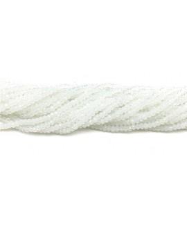 Rondel Cristal facetado chapado en blanco satin  4x3mm paso 1mm, tira de 47,5cm (149 unidades)
