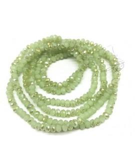 Rondel Cristal facetado electroplate verde  4x3mm paso 1mm, tira de 47,5cm (149 unidades)