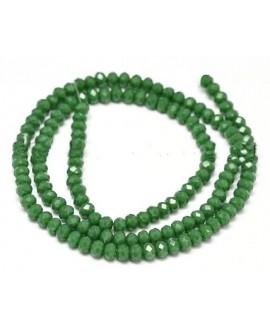 Rondel Cristal facetado  verde  4x3mm paso 1mm, tira de 47,5cm (149 unidades)