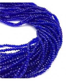 Rondel Cristal facetado  azul cobalto 4x3mm paso 1mm, tira de 47,5cm (149 unidades)