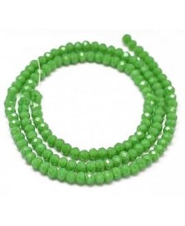 Rondel Cristal facetado  verde  mar 4x3mm paso 1mm, tira de 47,5cm (149 unidades)