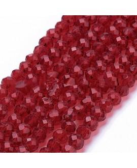 Rondel Cristal facetado  rojo oscuro 4x3mm paso 1mm, tira de 47,5cm (149 unidades)