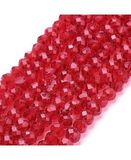 Rondel Cristal facetado  rojo 4x3mm paso 1mm, tira de 47,5cm (149 unidades)