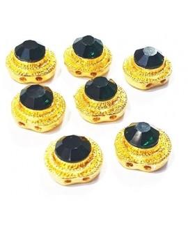 Entre-pieza Kundan verde 12mm paso doble 1mm, precio por unidad