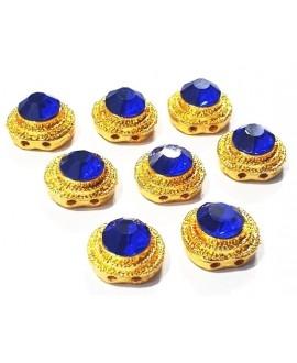 Entre-pieza Kundan azul 12mm paso doble 1mm, precio por unidad