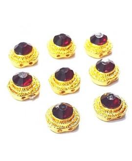 Entre-pieza Kundan rojo 12mm paso doble 1mm, precio por unidad
