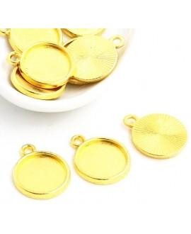 Base cabujón redondo plano dorado  12mm