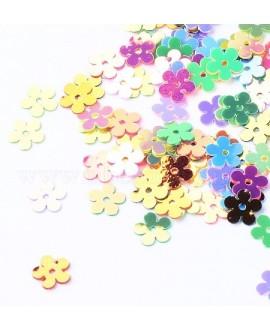 Lentejuelas forma de flor, color mezclado, 7x7x0.2mm paso 1mm, precio por 8 gramos