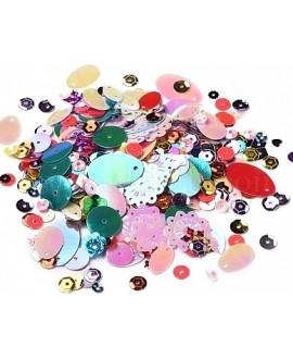 Lentejuelas forma de flor, color mezclado,diferentes tamaños, paso 1mm, precio por 8 gramos