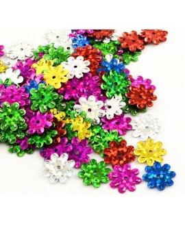 Lentejuelas forma de flor, color mezclado, 12/14mm paso 1mm, precio por 8 gramos