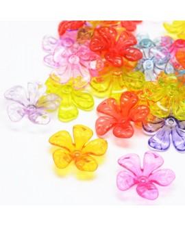 Capuchon/entre-pieza  flor, color mezclado, 25.5x26x7.5mm, agujero: 2 mm paso 2mm, precio por 5 unidades
