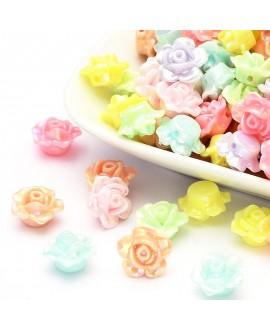 Cuentas de flores acrílicas opacas chapadas en color AB, color mixto, 13x8 mm paso 2 mm, precio por 15 unidades