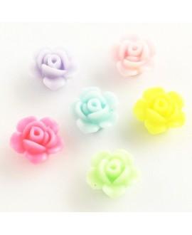 Cuentas de flores acrílicas opacas, color mixto, 13x8 mm paso 2 mm, precio por 15 unidades