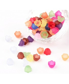Capuchon/entre-pieza  flor, color mezclado, 10x6mm, agujero: 1,5 mm paso 2mm, precio por 20 unidades