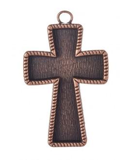 Colgante cruz cobre 70x43x4mm, bandeja 37x57mm, paso 5mm