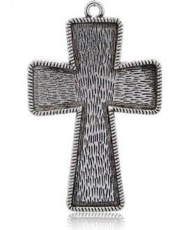 Colgante cruz plateada 100x65x3mm, bandeja 60x90mm, paso 5mm