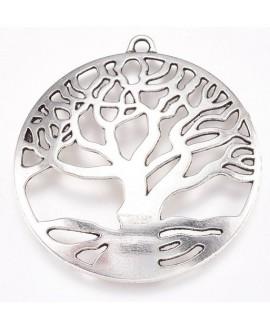Colgante árbol de la vida, plata antigua, 61x58x3mm, bandeja 55mm, paso 4mm
