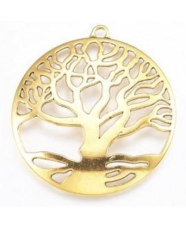 Colgante árbol de la vida, dorado antiguo, 61x58x3mm, bandeja 55mm, paso 4mm
