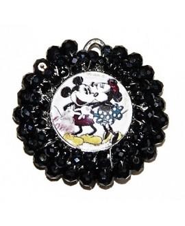 Medalla Mickey y Minnie bordada a mano 50mm