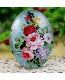 Cabuchón cristal flores 40x30mm, fondo plano