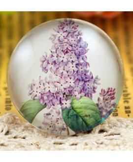 Cabuchón cristal flores 25mm, fondo plano