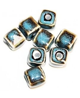Cuentas de porcelana esmaltada de forma antigua 14x12mm paso 3mm, precio por 8 unidades