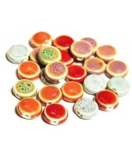 Cuentas de porcelana esmaltada de forma antigua 10x4mm paso 1,5mm, precio por 12 unidades