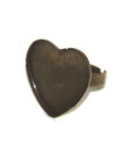 Base anillo metal  corazón plano bronce, 26x26x20mm, ajustable