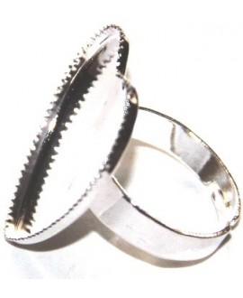 Base anillo metal  corazón plano plata, 26x26x20mm, ajustable
