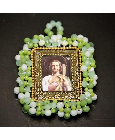 Medalla bordada San Judas 55x50mm, paso 3mm