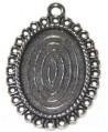 Base cabujón oval plano 28x32mm, metal, base 25x15mm,