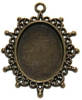 Base cabujón oval plano bronce, 25x18mm, con paso de 3mm