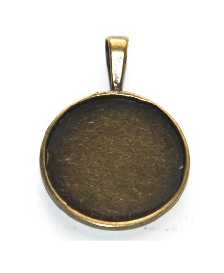 Base cabujón  redonda bronce 25x25mm, agujero de 6mm