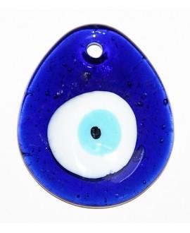 Colgante ojo turco de cristal griego 60x40mm, paso 4mm