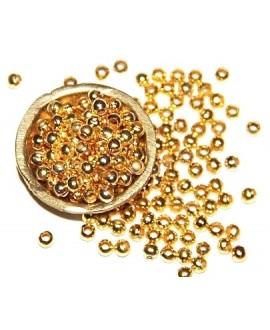 Cuenta mini 3mm paso 1mm, metal dorado, precio por 25 gramos